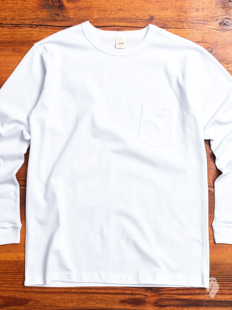 Heavyweight Long Sleeve Pocket T-Shirt in White