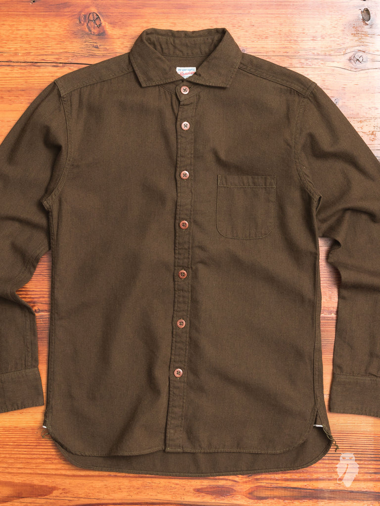 05-185 Spread Collar Flannel Shirt in Brown