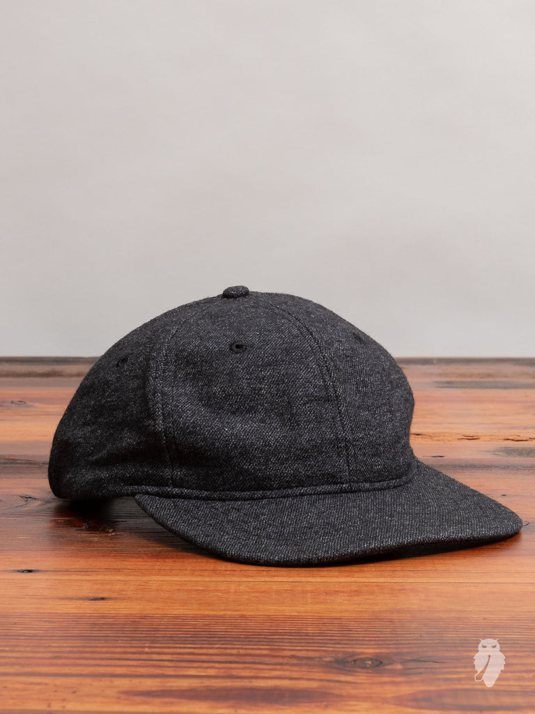 Knit Wool 6-Panel Hat in Melange Black