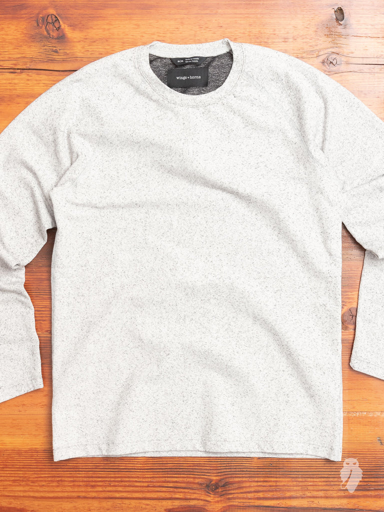Stretch Cotton Crewneck Sweater in Light Heather Grey
