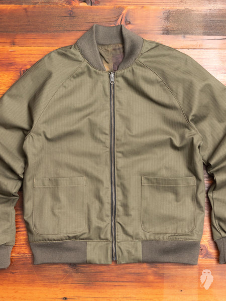 Reversible Flight Jacket in Oil Camo/Olive Herringbone