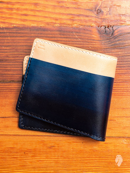 """10th Anniversary"" Gradient Dyed Wallet in Indigo Cowhide"