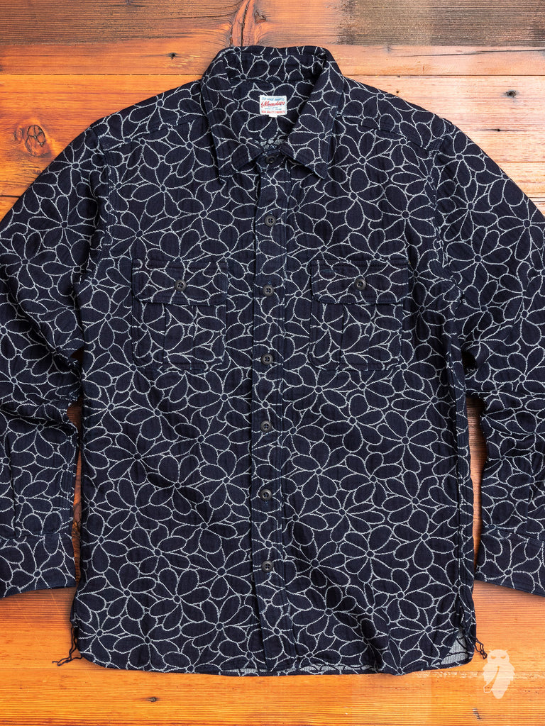 05-232 Flower Jacquard Work Shirt in Indigo