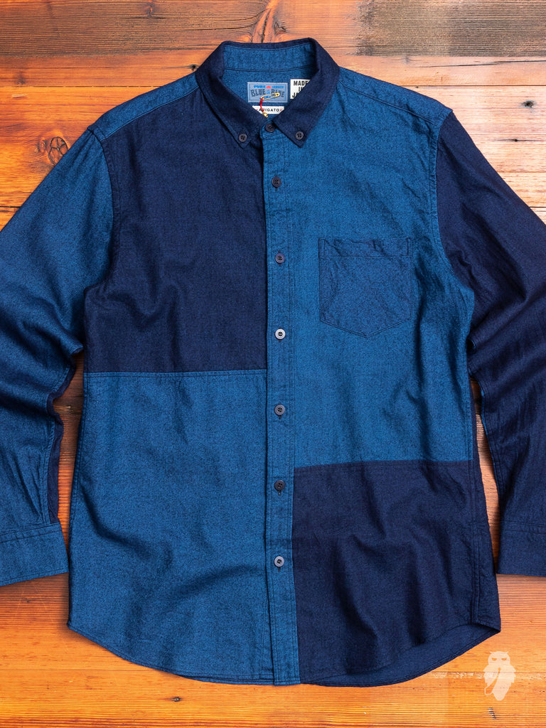 """Hand Dyed Cutover"" Button-Down Shirt in Indigo"