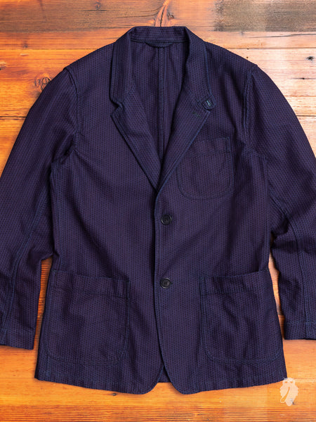 Stitched Sashiko Country Jacket in Indigo