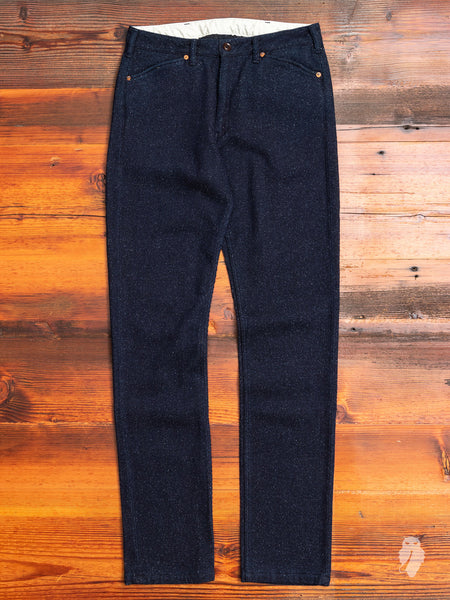 01-070 Cotton Wool Silk Trousers in Indigo