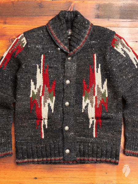 Hand-Knit Shawl Collar Cardigan in Black Multi