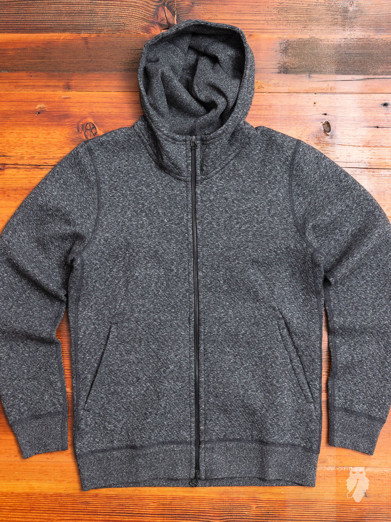Cabin Fleece Zip Hoodie in Melange Black