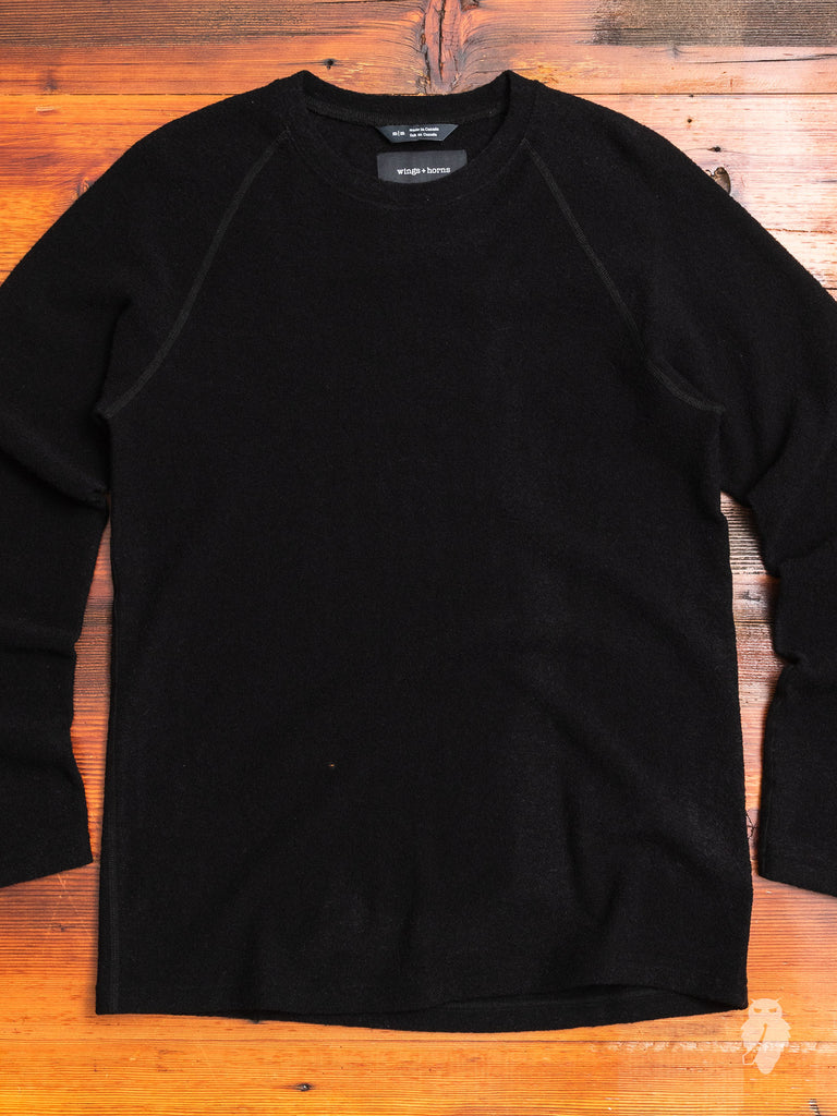 Felted Wool Crewneck Sweater in Black