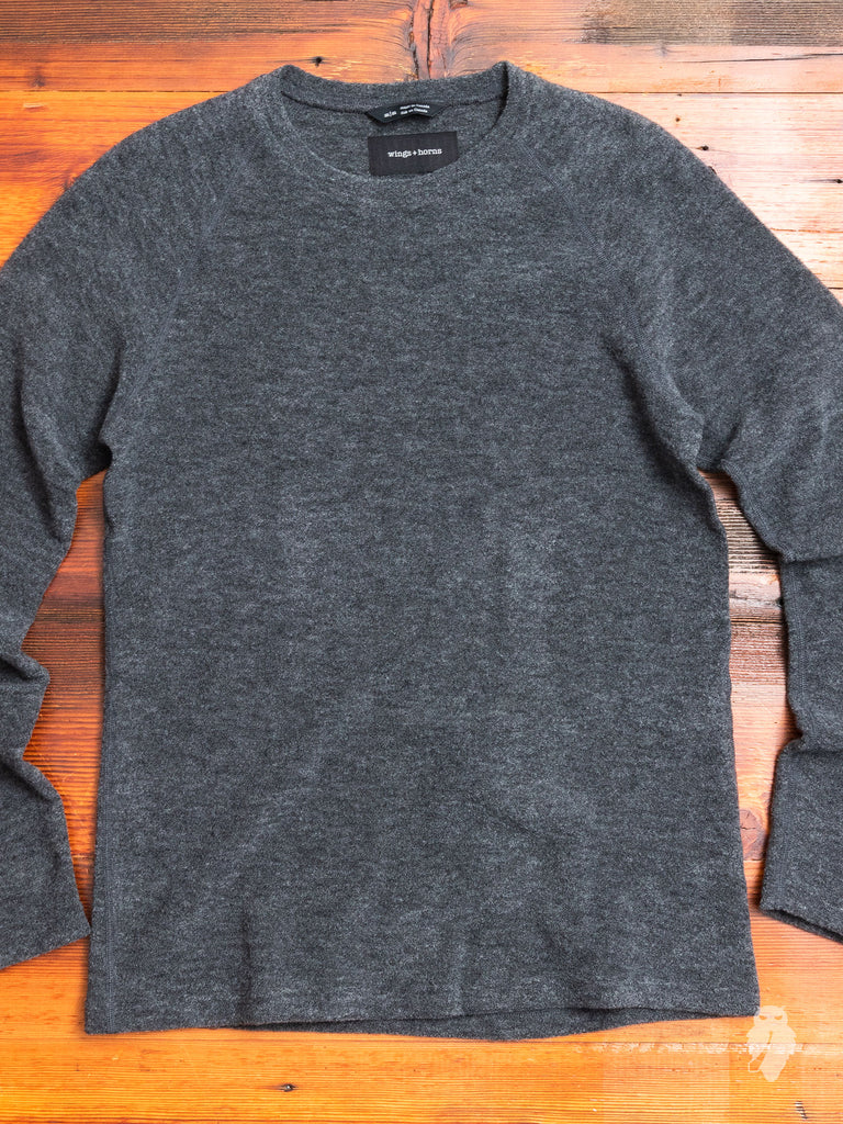 Felted Wool Crewneck Sweater in Heather Grey