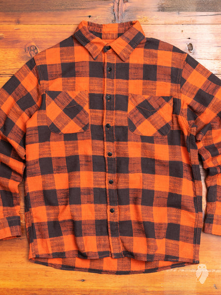 Buffalo Check Work Shirt in Red Orange