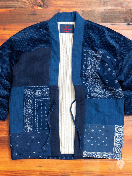 Patchwork Hanten Haori Jacket in Indigo