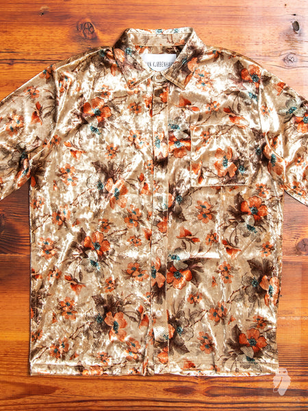 Velvet Flowers Button-Up Shirt in Bronze