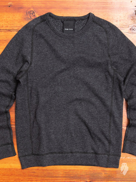 Knit Pile Reversible Crewneck Sweater in Melange Black