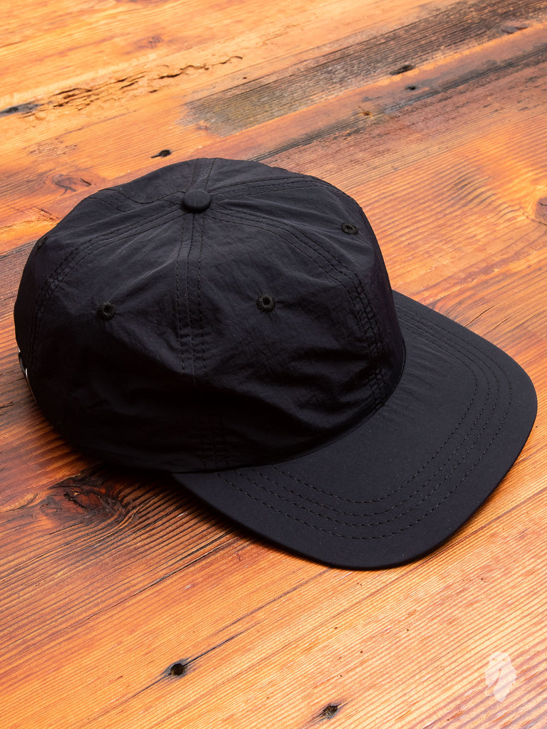 Nylon 6-Panel Hat in Black