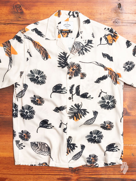 Fall Hawaiian Shirt in White