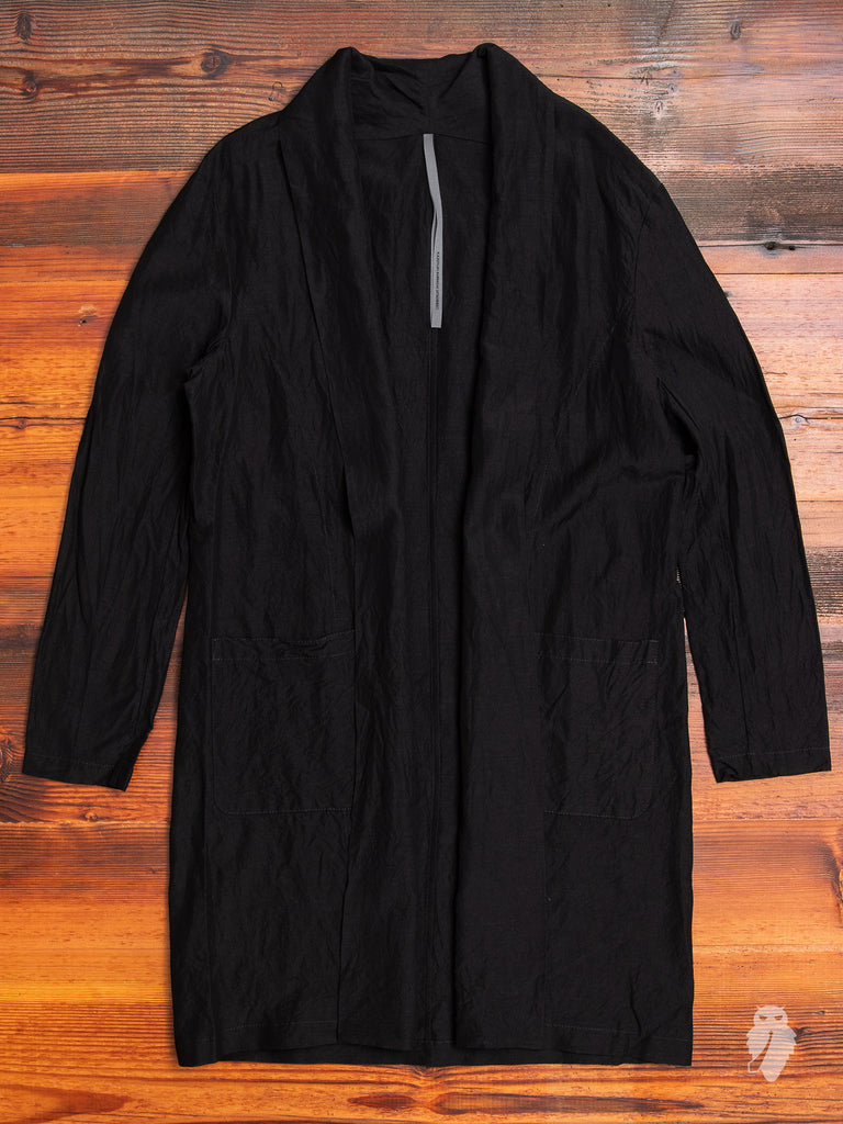Rayon/Ramie Stole Collar Long Cardigan in Black