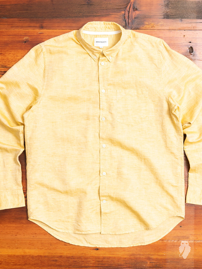 Osvald Linen Button Down Shirt in Sunwashed Yellow