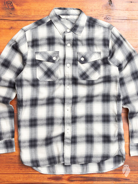 Crosscut Flannel in Black Brushed Check