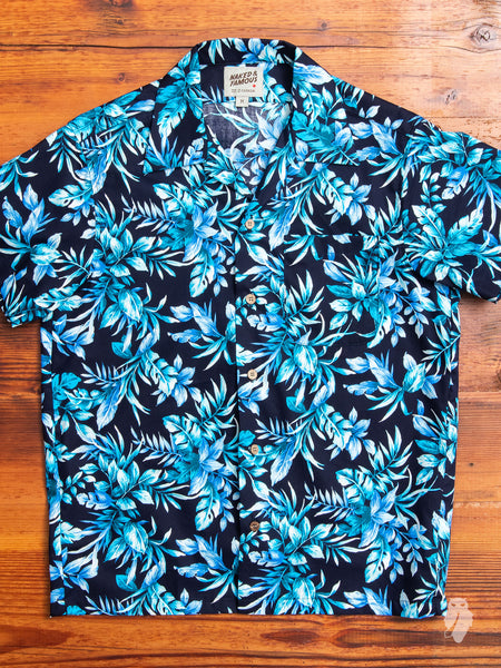 """Big Tropical"" Aloha Shirt in Navy"