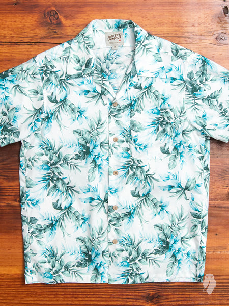 """Big Tropical"" Aloha Shirt in White"