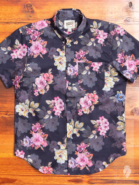 """Flower Painting"" Button Down Shirt in Navy"