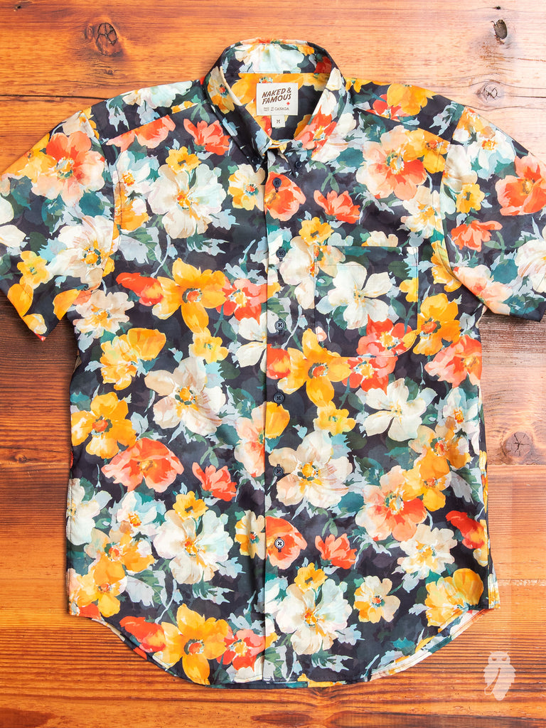 """Flower Painting"" Button Down Shirt in Orange"
