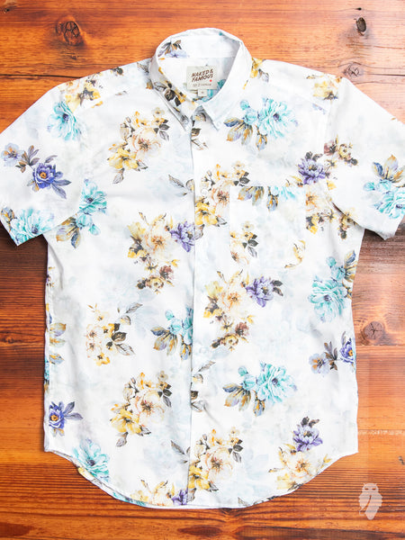"""Flower Painting"" Button Down Shirt in White"