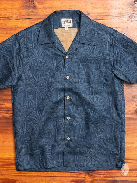 """Tropical Jacquard"" Aloha Shirt in Blue"