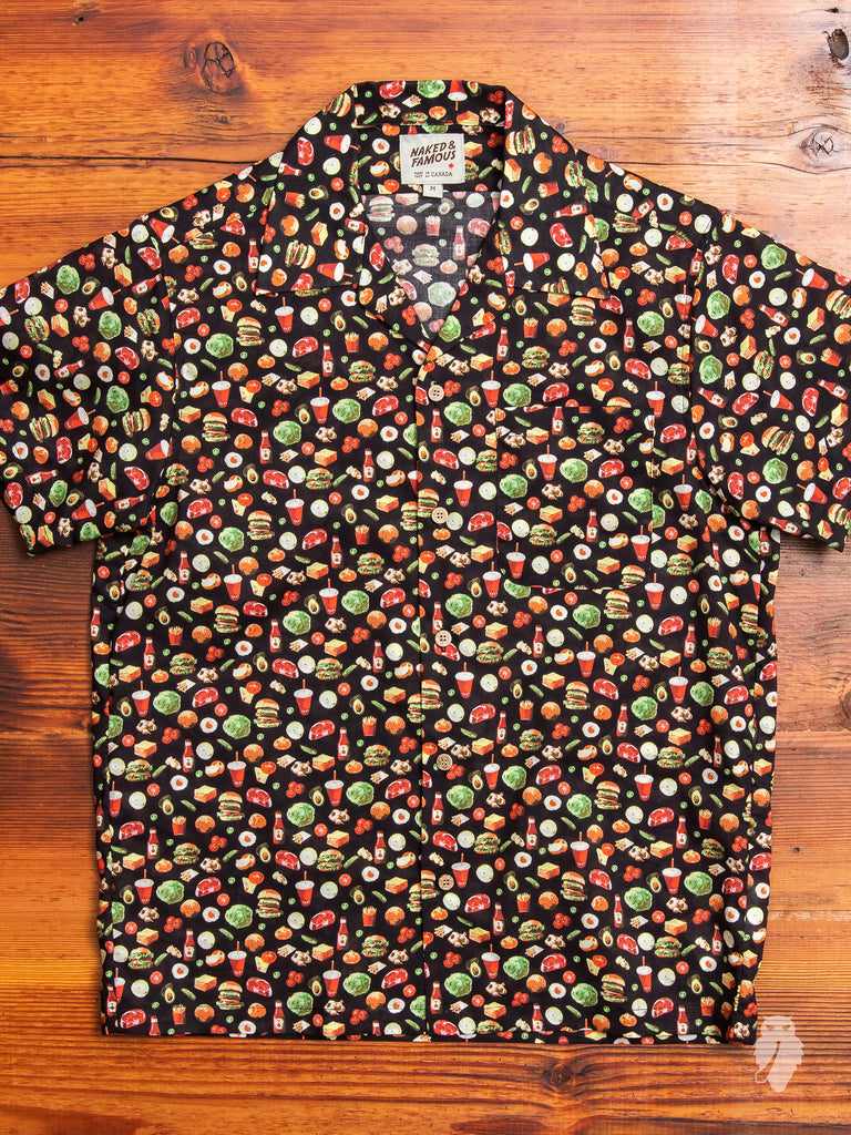 """Vintage Fast Food"" Aloha Shirt in Black"