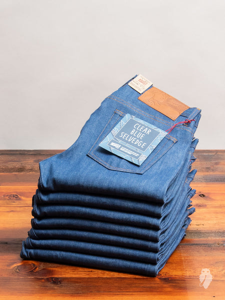 """Clear Blue Selvedge"" 9oz Selvedge Denim - Weird Guy Fit"