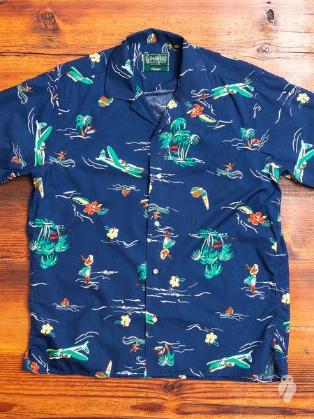 Surf & Turf Camp Shirt in Navy