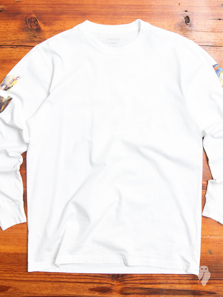 """Heaven & Hell"" Long Sleeve T-Shirt in White"