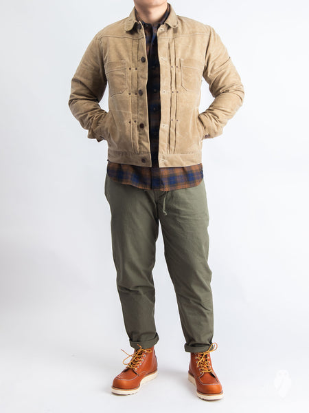 10oz Waxed Canvas Riders Jacket In Tobacco Blue Owl Workshop