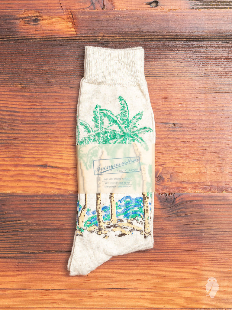 Palm Tree Crew Sock in Natural