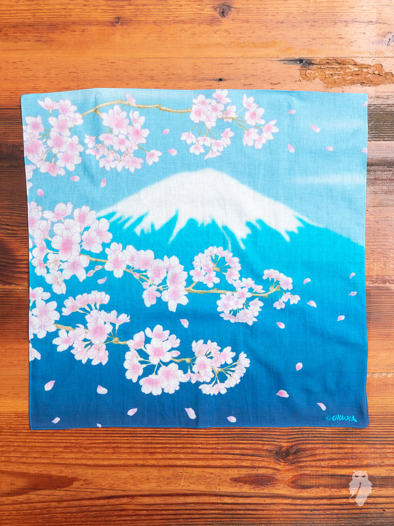 """Mt. Fuji"" Bandana in Indigo"