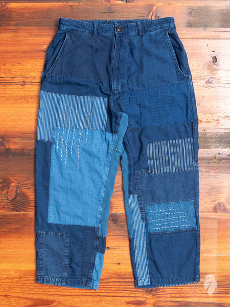 Patchwork Flannel Pants in Indigo