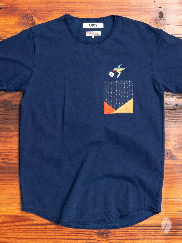 Origami Pocket T-Shirt in Indigo