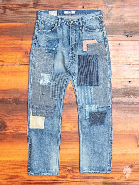 Denim Patchwork Pants in Used Indigo