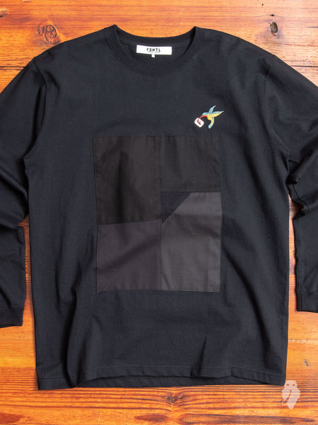 Patchwork Long Sleeve T-Shirt in Black