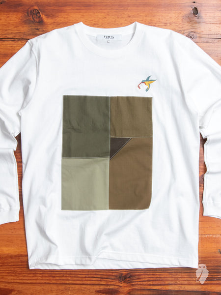 Patchwork Long Sleeve T-Shirt in White