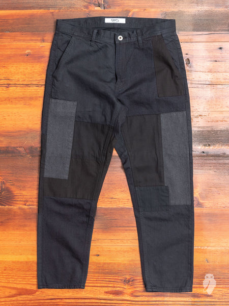 Denim Patchwork Pants in Black