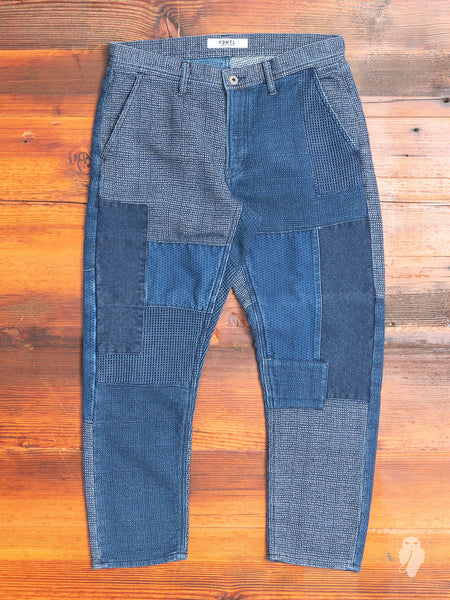Sashiko Patchwork Pants in Indigo
