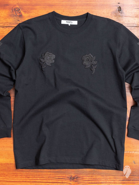 Rose Long Sleeve T-Shirt in Black