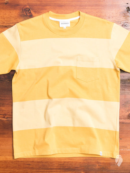 Johannes Block Stripe Pocket T-Shirt in Sunwashed Yellow