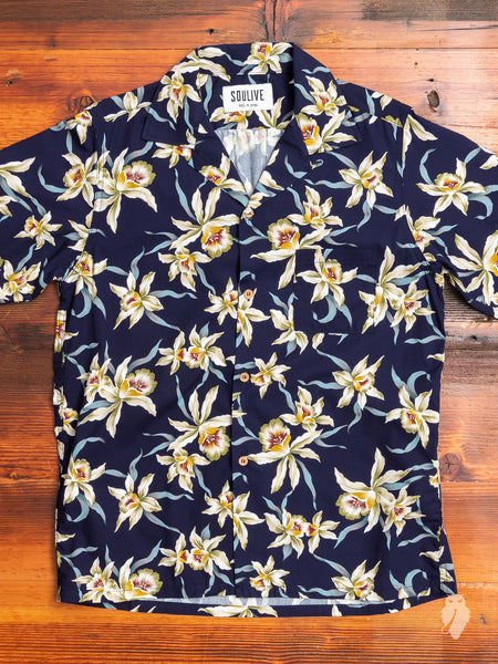 Floral Hawaiian Shirt in Navy