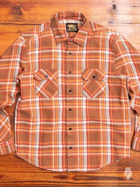 Bryson Flannel Shirt in Bleached Orange/Brown