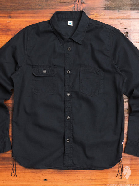 8oz Selvedge Work Shirt in Black Grey