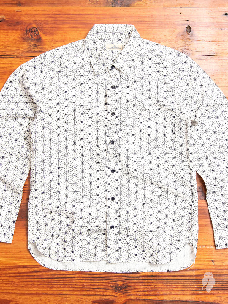 """Asanoha"" Button Up Shirt in White"
