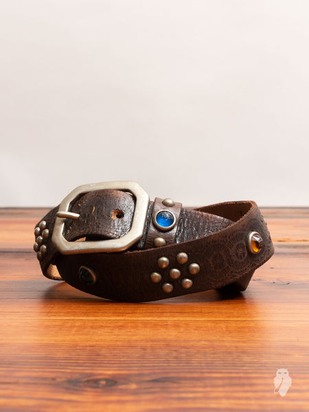 """Rasco"" Studded Leather Belt in Vintage Black"